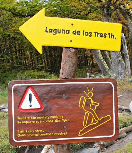Hiking sign El Chalten