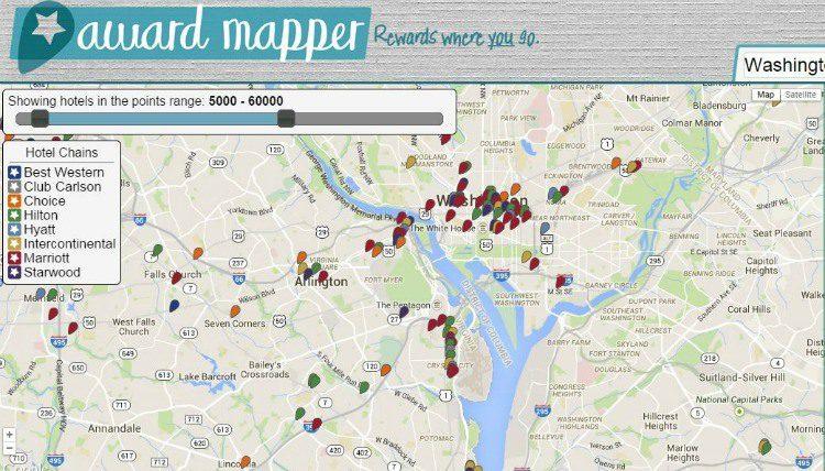 Screenshot of hotels shown by AwardMapper just outside of Washington, D.C.