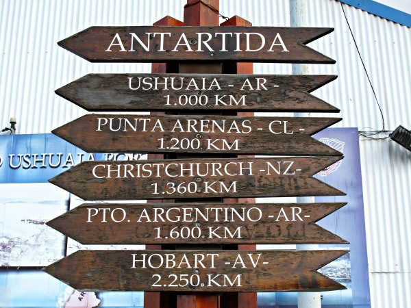 Distances posted at Ushuaia's port.