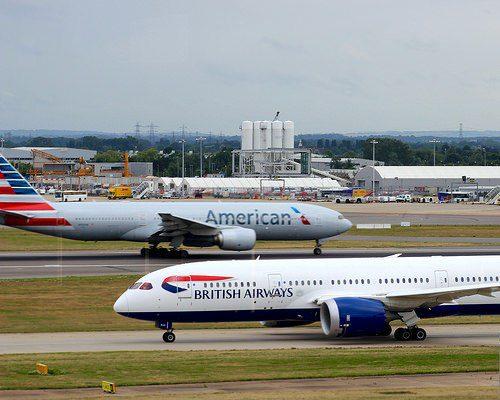 British Airways & American Airlines airplanes
