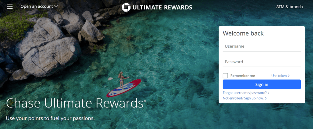 screenshot of the Chase Ultimate Rewards Portal homepage