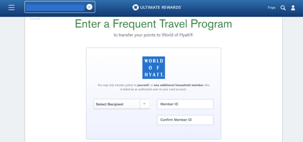 Screenshot of Chase UR Portal Hyatt Transfer