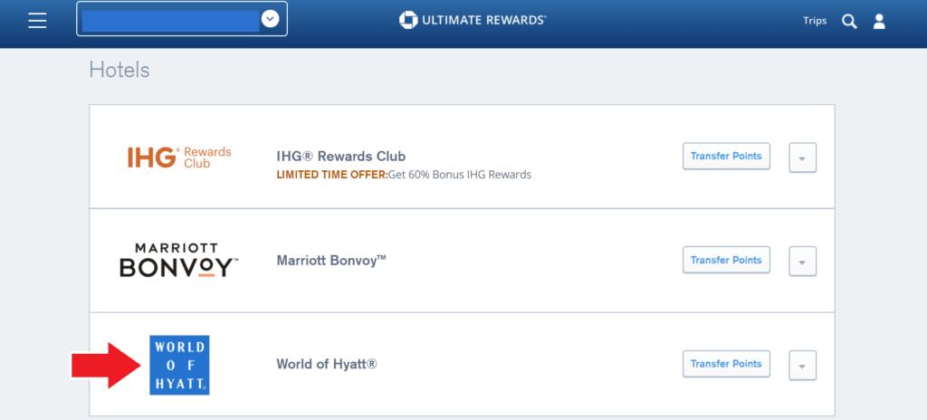 Screenshot Chase UR transfer to Hyatt