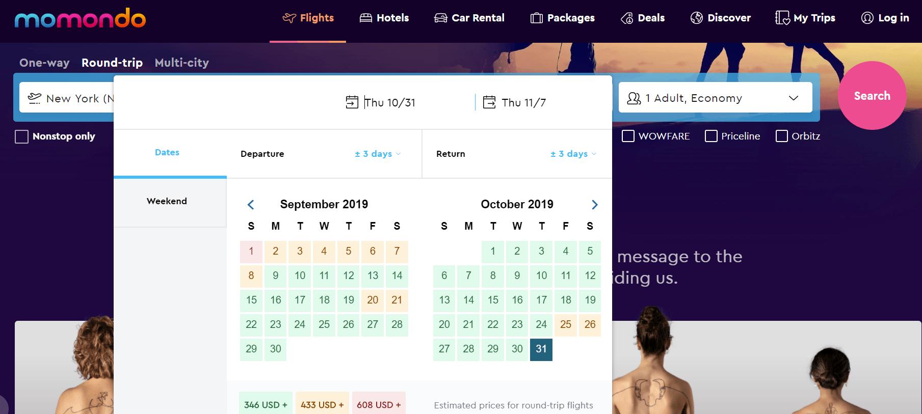 Momondo Flexible Dates Flight Search