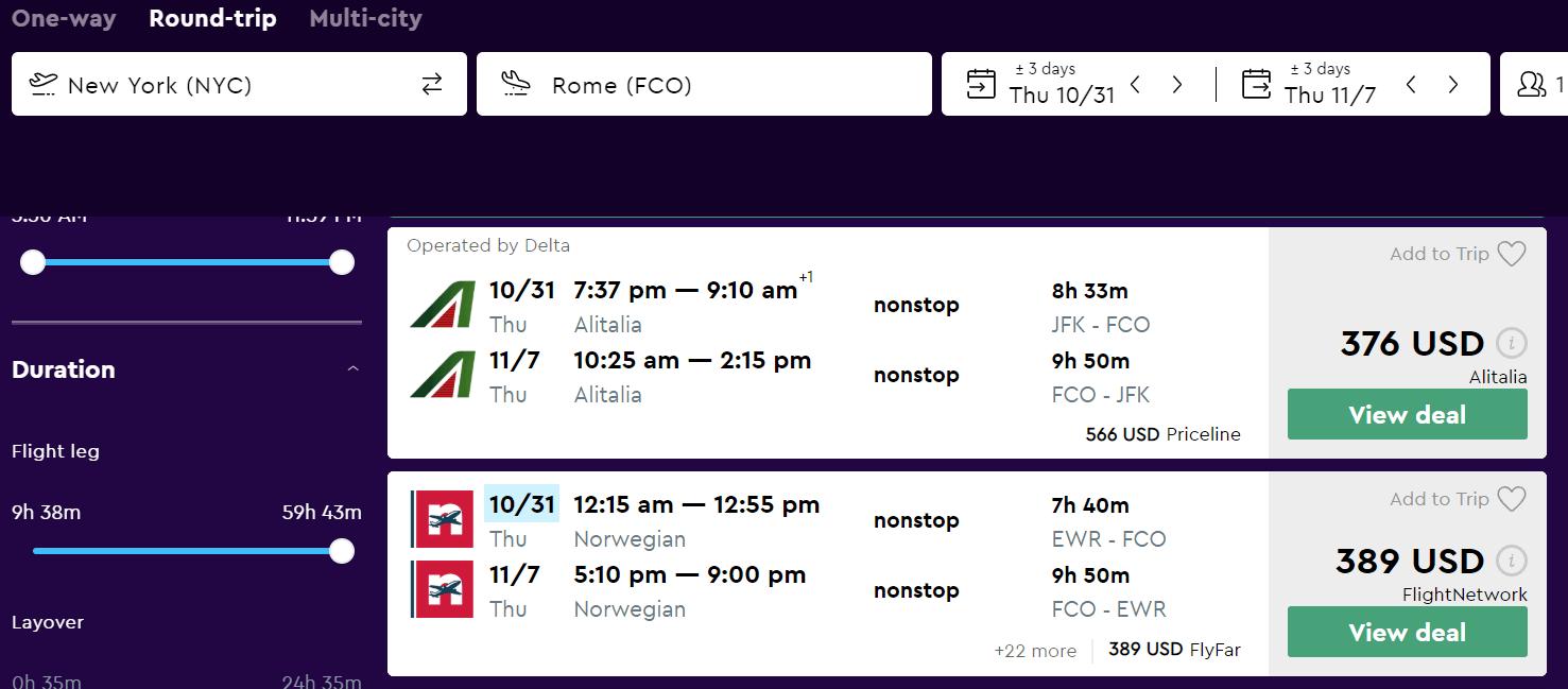 Momondo Flight filters