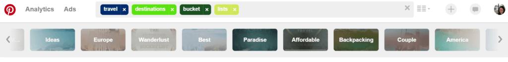 Pinterest search screenshot How to choose a travel destination