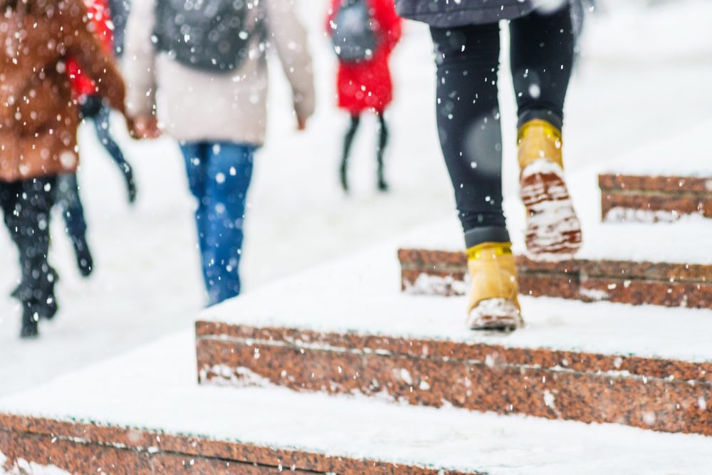 City walkers in the winter snow