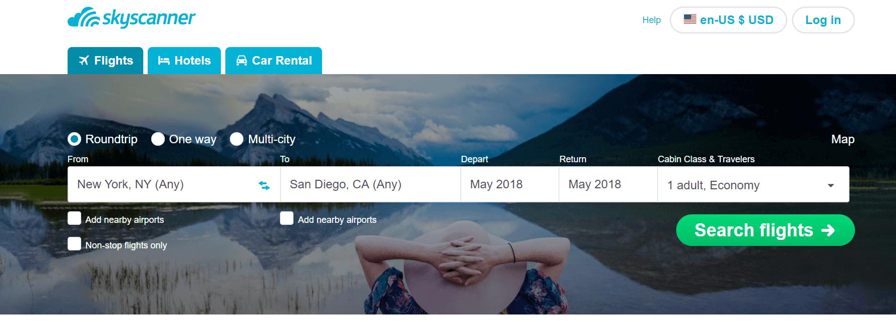 skyscanner screenshot - best websites to find cheap flights