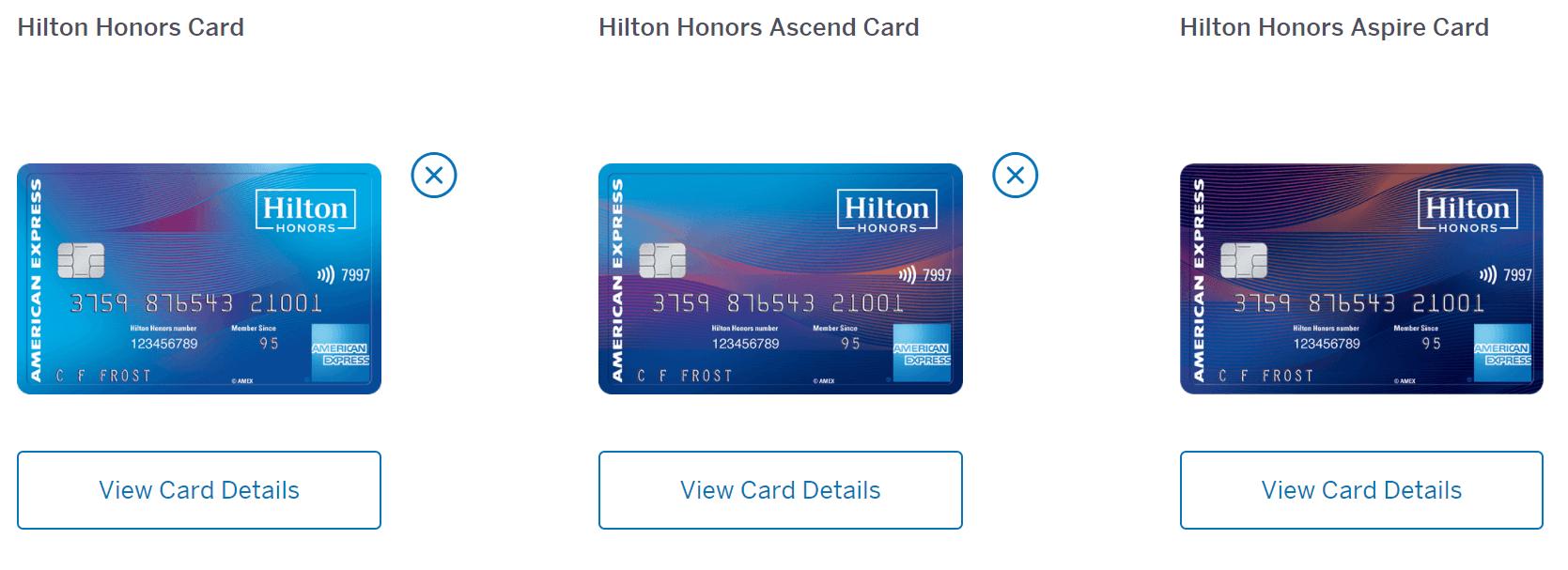 American Express Hilton cards