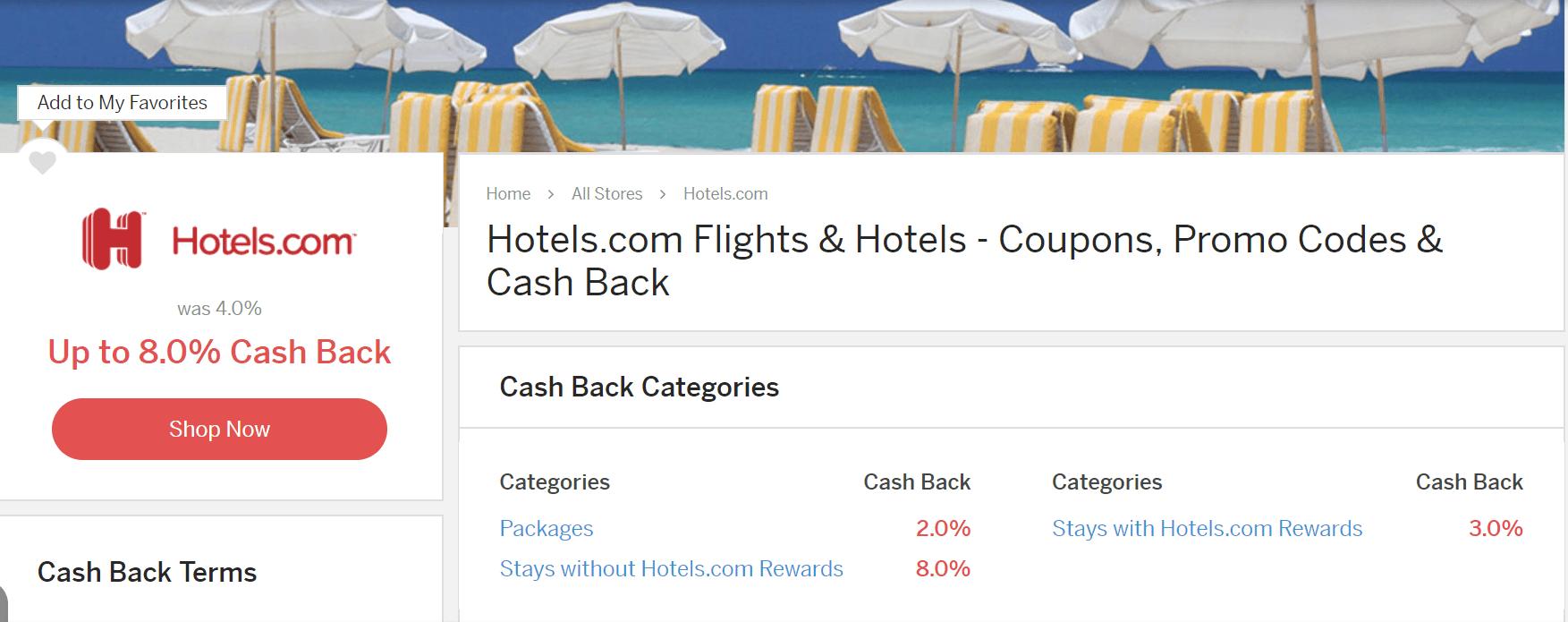 Hotels.com Ebates