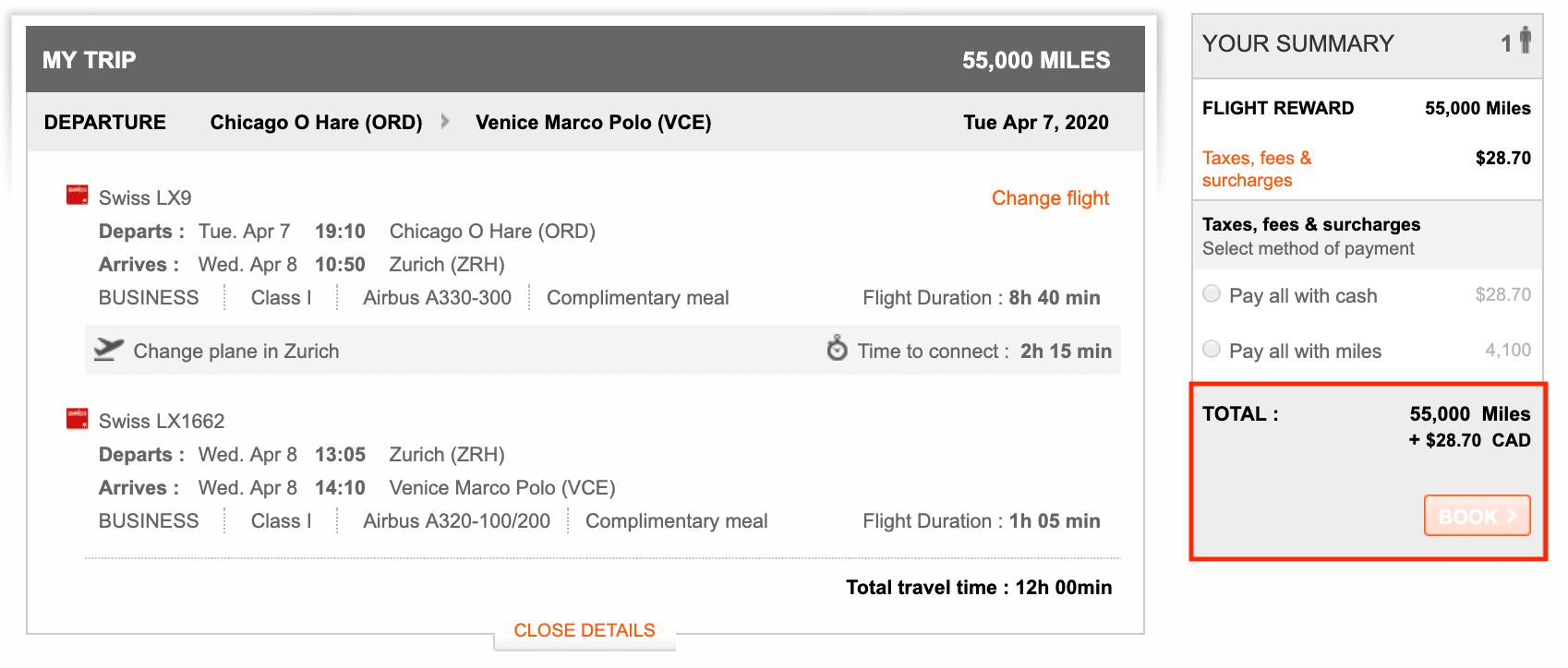 Aeroplan award flight to Venice