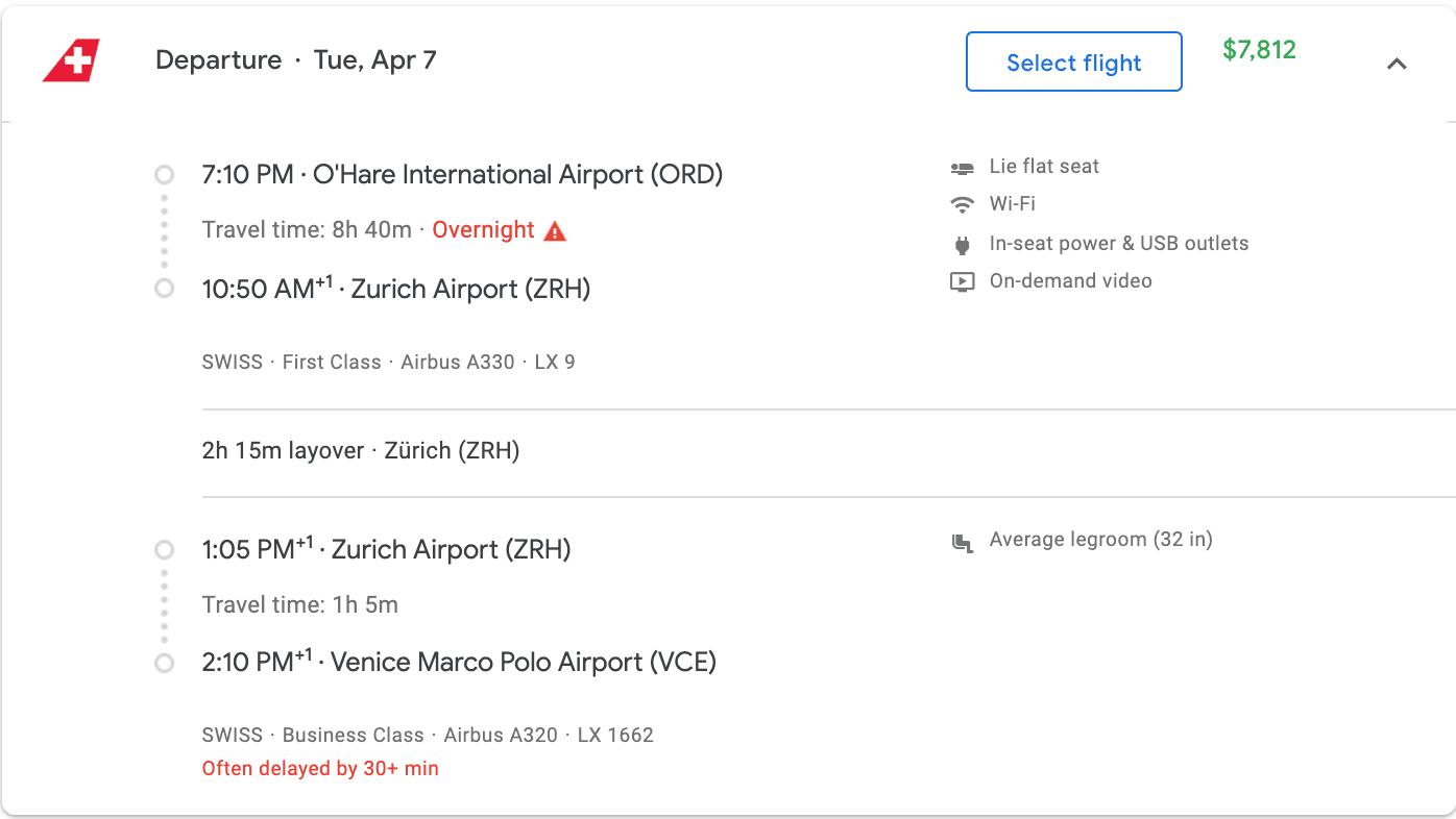 Flight cost to Venice