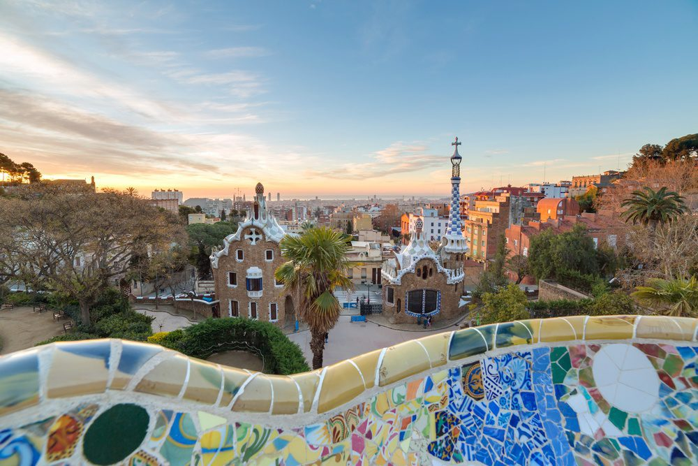 Barcelona Spain Sunrise at Parc Guell