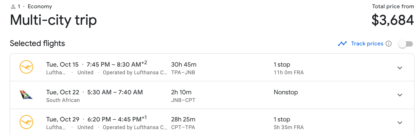 South Africa flight cost