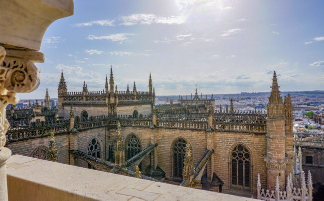 Seville Spain Gothic Cathedral Tower view