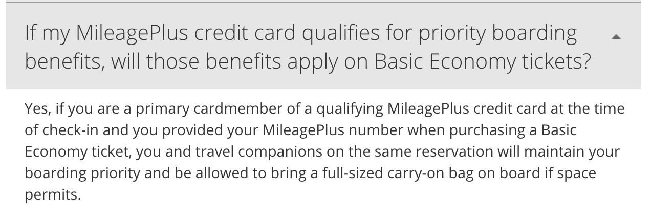 Baggage allowance United Basic Economy