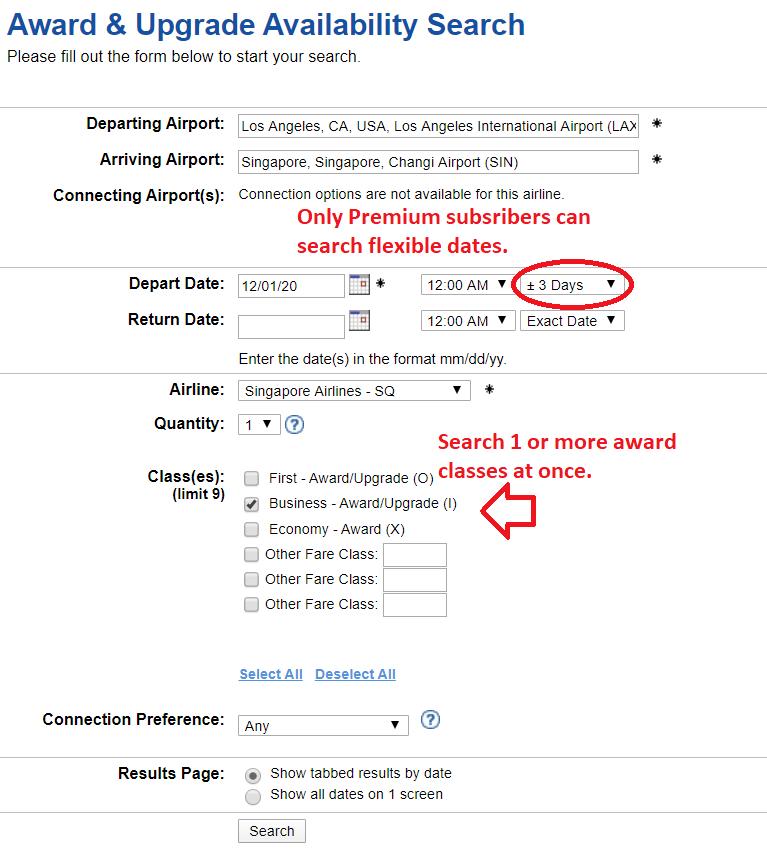 ExpertFlyer Award Search