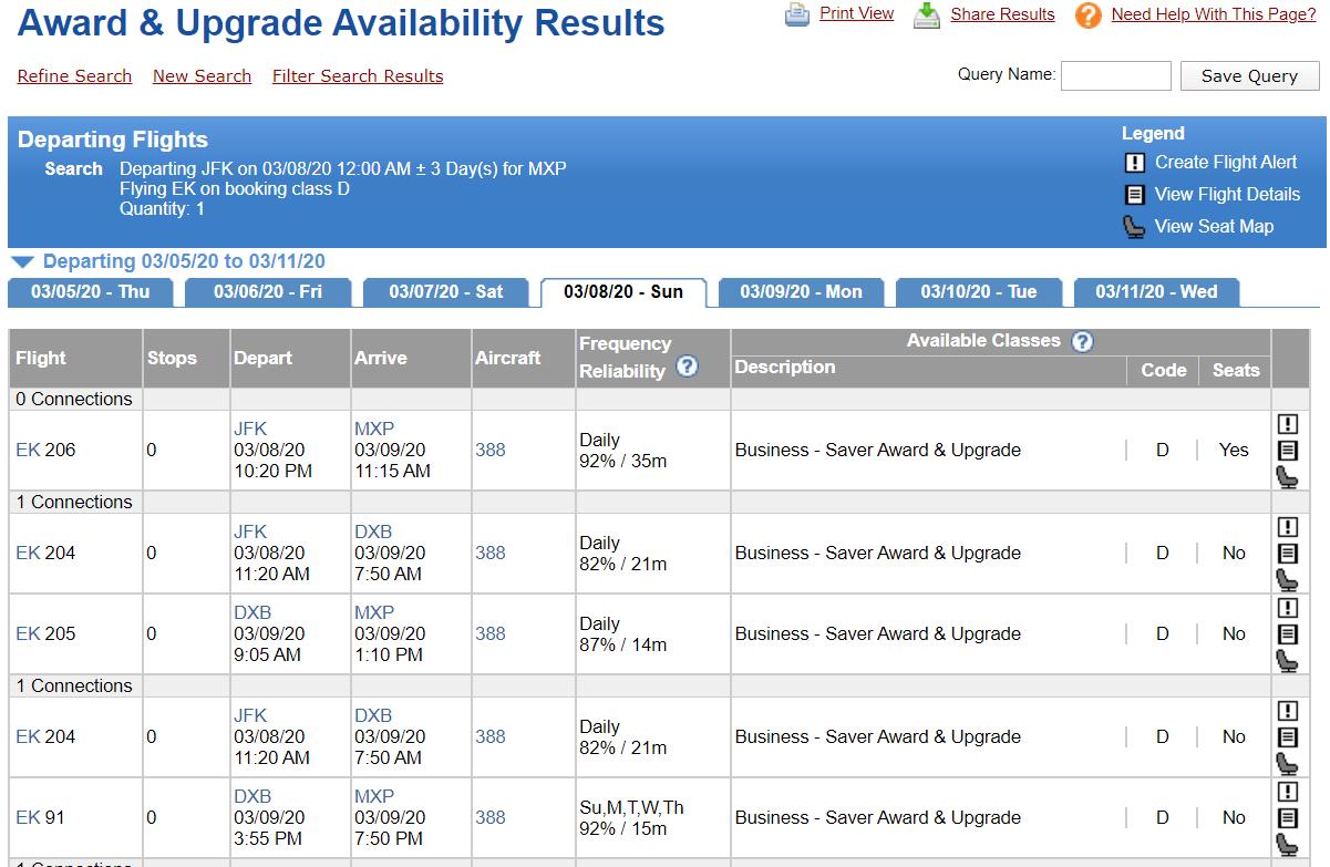 ExpertFlyer Upgrade Results