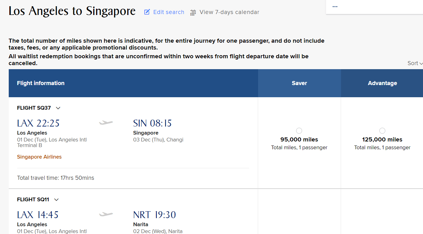 Singapore Airlines Search Example