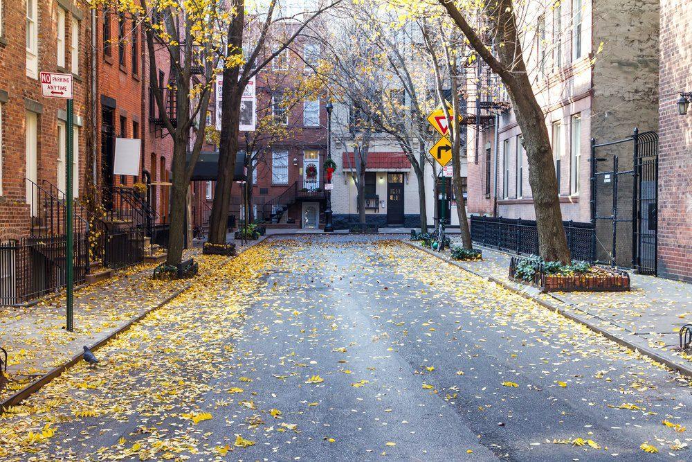 Quiet Empty Commerce Street in the Historic Greenwich Village Neighborhood of Manhattan, New York City