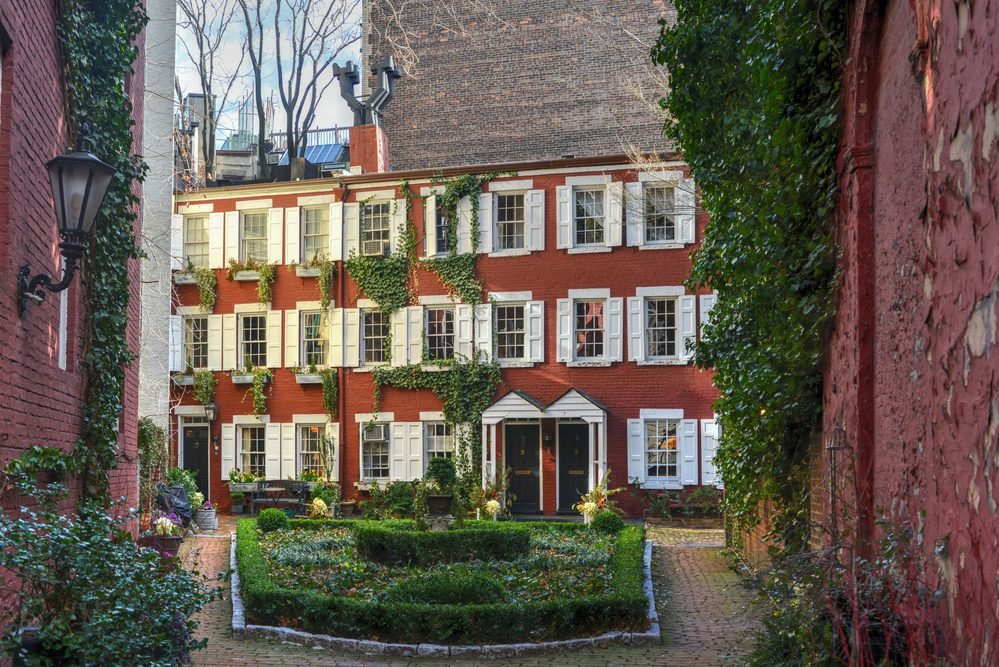 Grove Court, a private enclave in the Greenwich Village neighborhood of Manhattan, New York City.