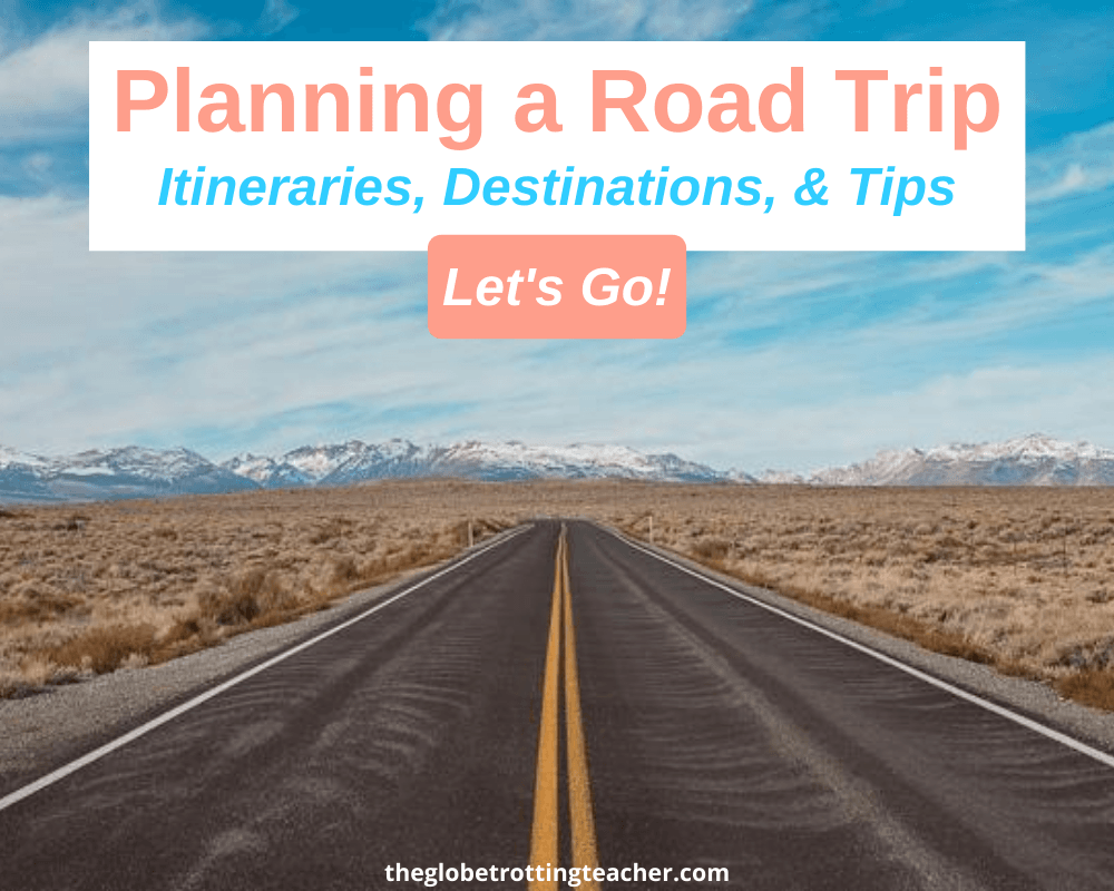 Open road with mountains in the distance and overlay text for planning a road trip