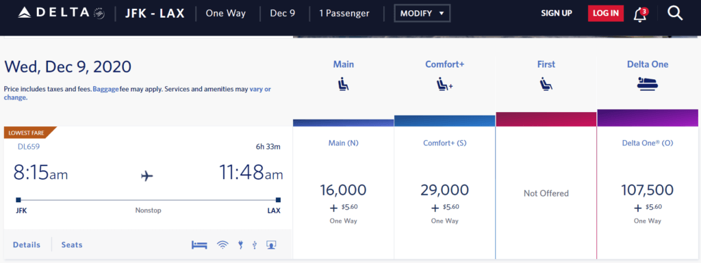DL JFK to LAX Example